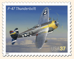 Commemorative Postage Stamp Showing P-47